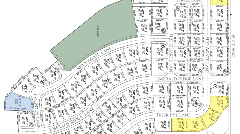 Plat of Emerald Ridge Estates Filing 1, a new development in north Grand Junction, CO offering custom and semi-custom homes with 3+ car garages and RV parking.