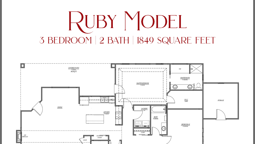 Ruby Model - 3 bedroom, 2 bath home with attached storage shed in Emerald Ridge Estates.