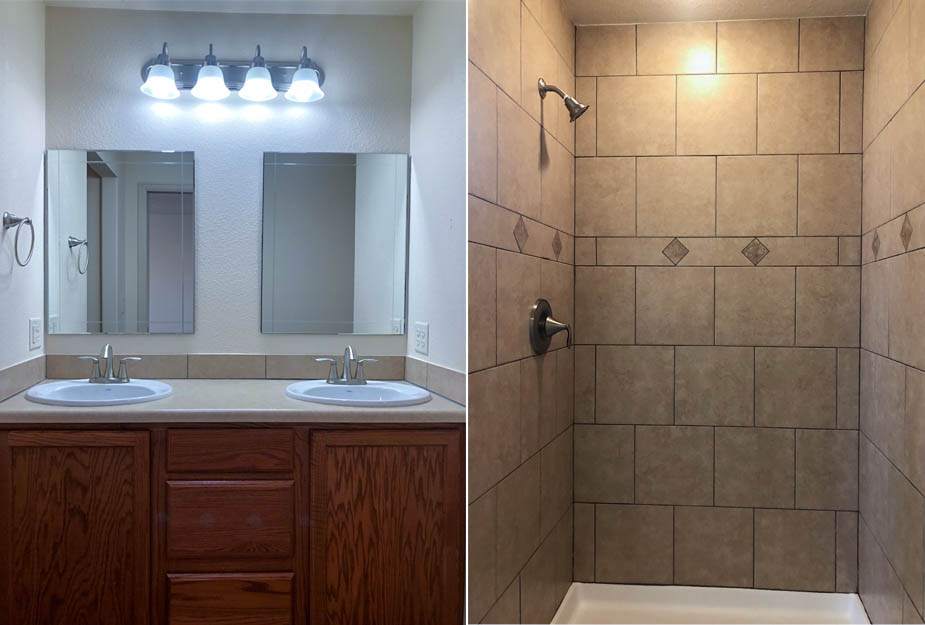 The master bath includes a double sink vanity, step-in shower, and semi-private toilet.