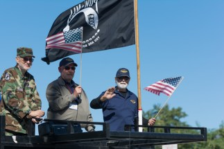 Mission Hills, USA - November 11, 2015: American veterans during The San Fernando Valley Veterans Day Parade