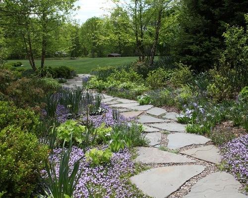 walkway of pavers and pebbles