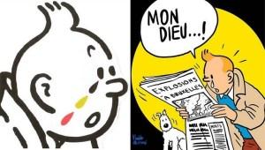 Tintin en larmes apres les attentats. Photo: Internet