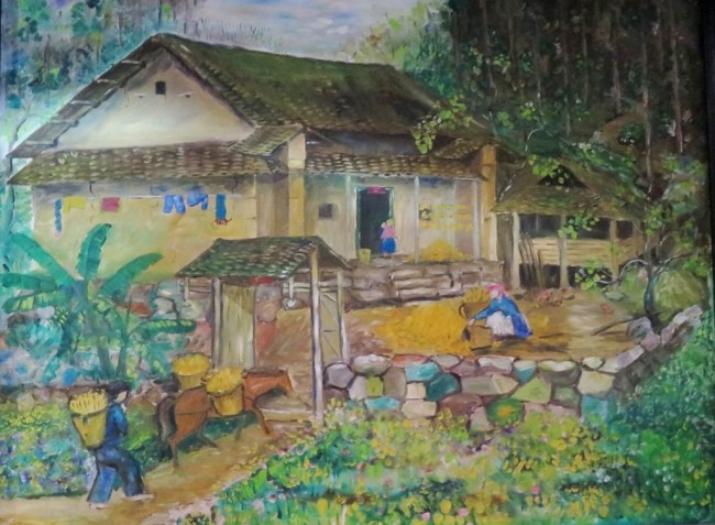 Một bức tranh trong Cafe phố cổ Đồng Văn. Photo: TongMai