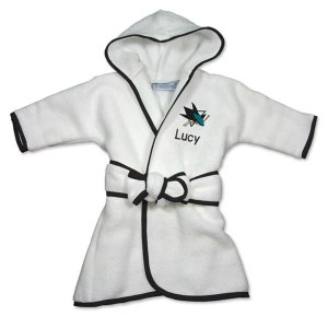 Infant San Jose Sharks White Personalized Robe