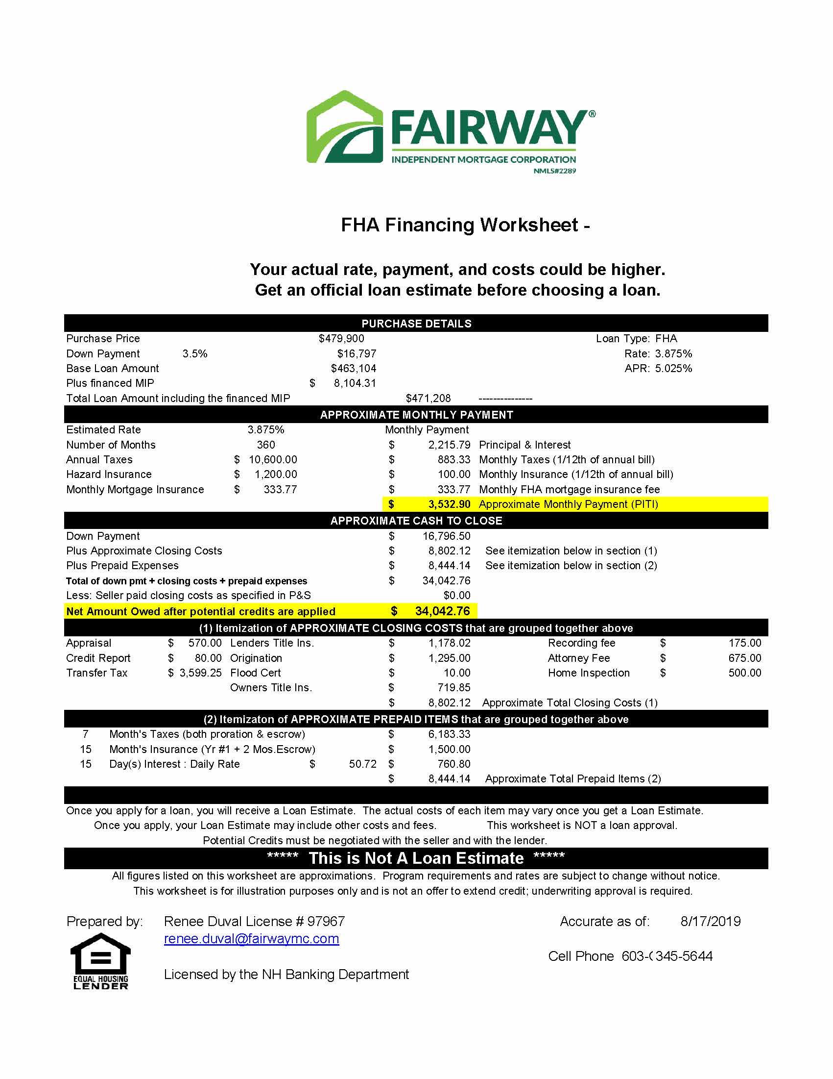 Fha Purchase Worksheet 1 Gulf Rd