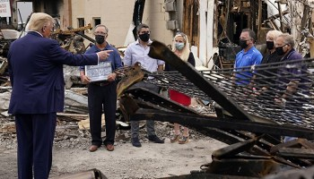 Trump tours site of Kenosha riots, promises to help businesses rebuild