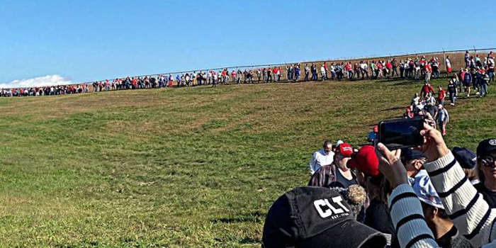 Massive lines at Trump rally in battleground state North Carolina