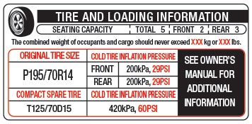 Tire and Loading Information Label