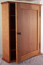 Small narrow Cherry medicine cabinet with mirror or solid