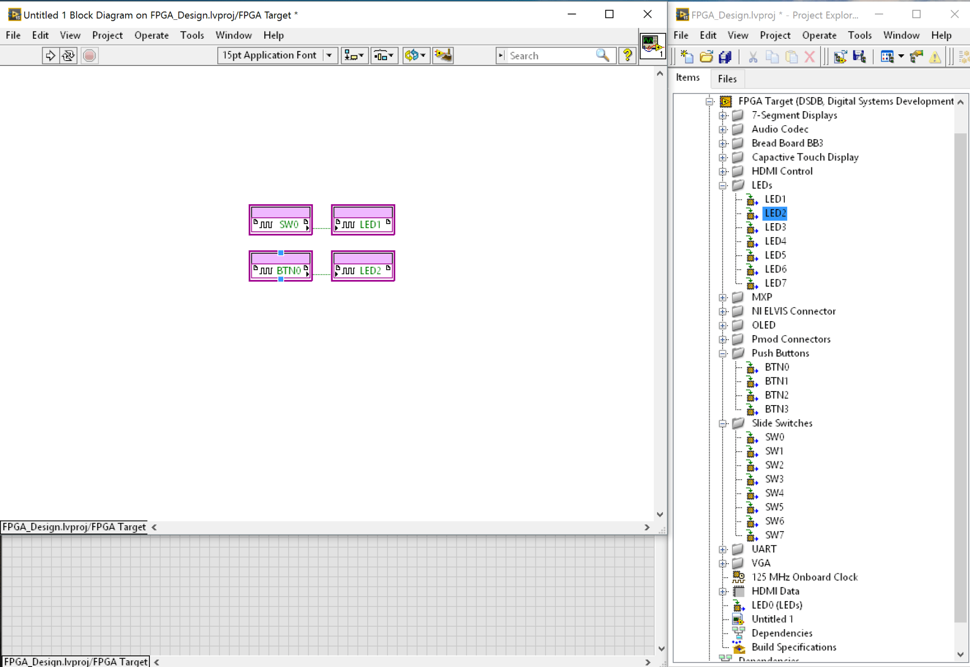 hight resolution of in the labview block diagram wire btn0 output to the led2 input