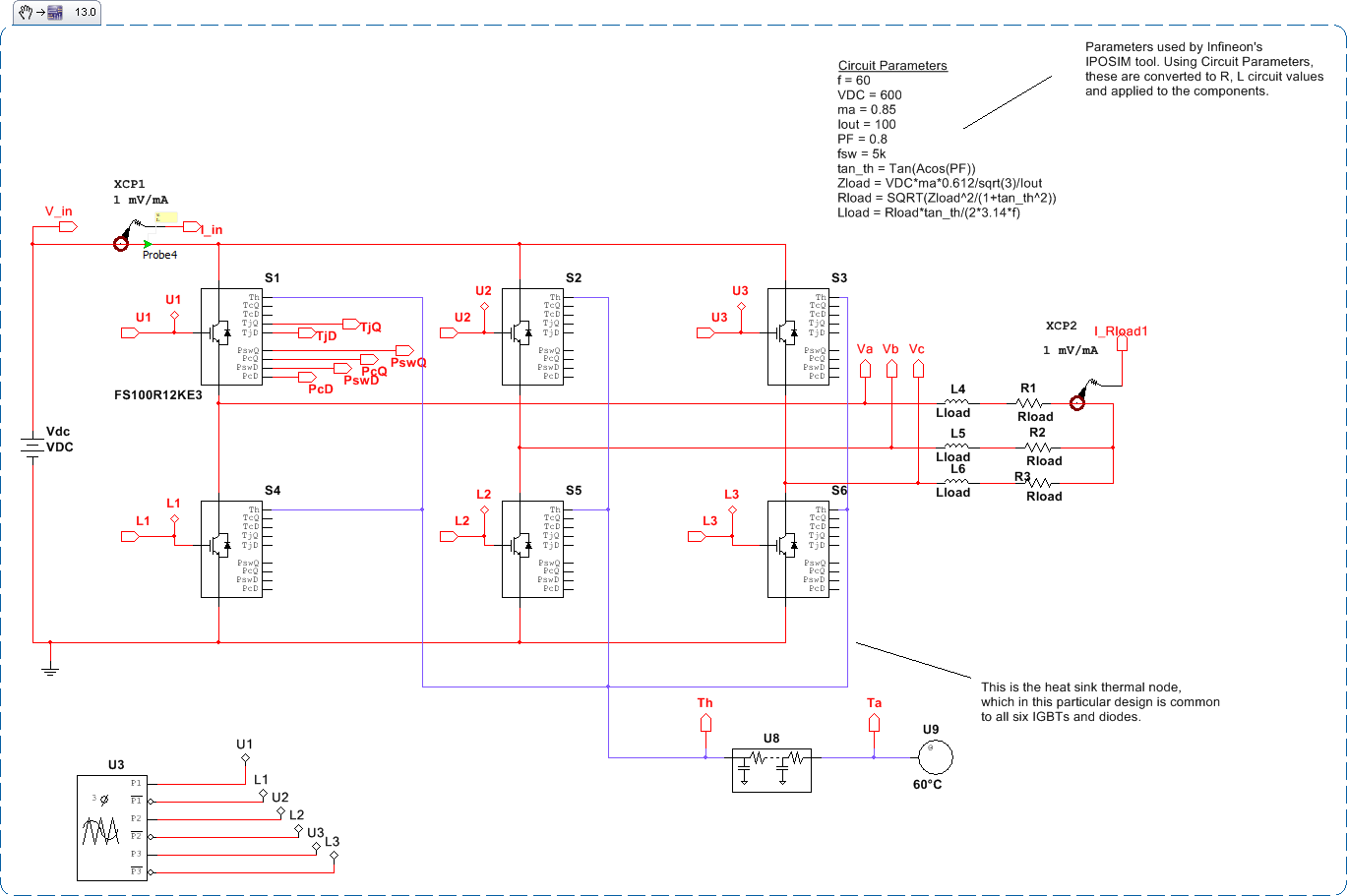 hight resolution of 3 phase inverter design with thermal modeling and switching and conduction losses