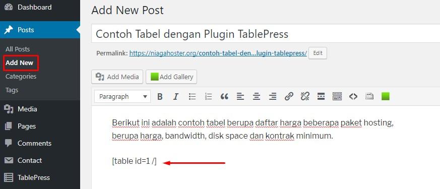 masukkan shortcode tablepress