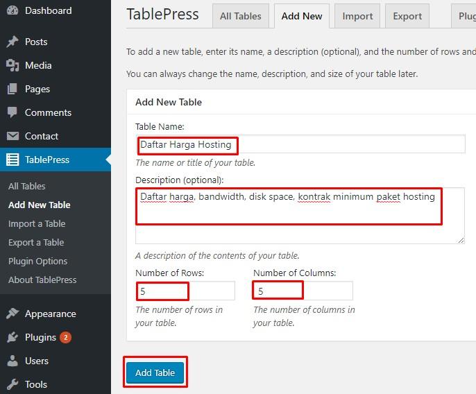 tabel wordpress