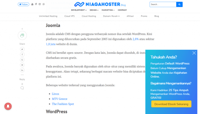popup banner di blog niagahoster