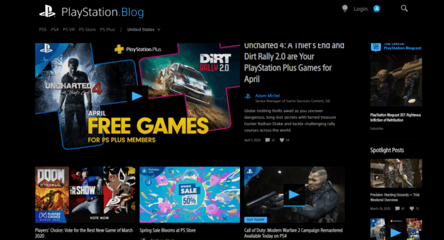 Contoh blog WordPress pada PlayStation Blog