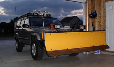 Meyer poly plow installed on Jeep Cherokee.