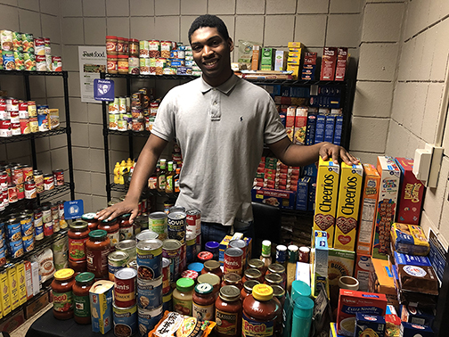 NCCC Student Maurice Jackson with the NCCC Campus Pantry