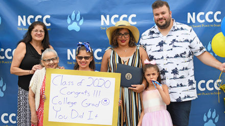 NCCC Graduate, Maritza Rivera poses with her family during diploma pick-up on Thursday, June 25th
