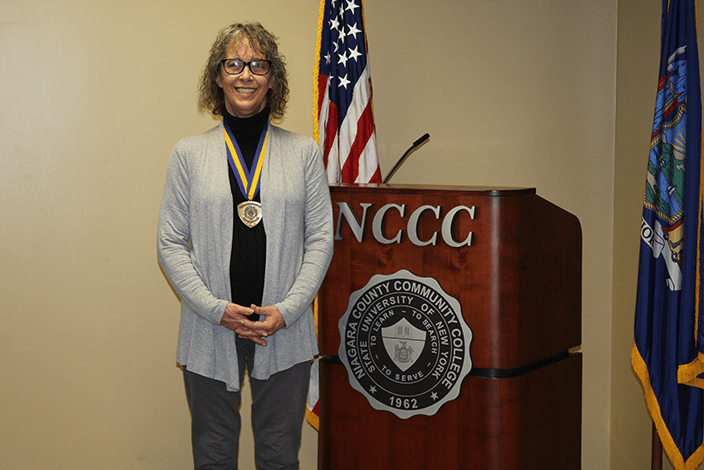 Maureen Winters with SUNY Chancellor's Award