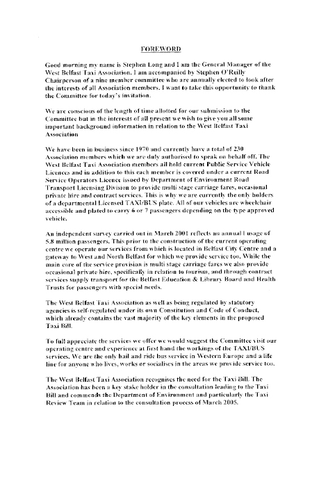 Report on the Taxis Bill (NIA 4/07)