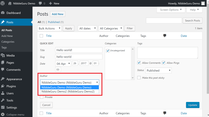 Modify author Wordpress