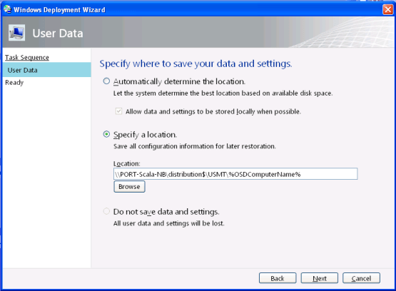 Backup data with MDT