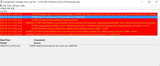Sysprep fails Error log