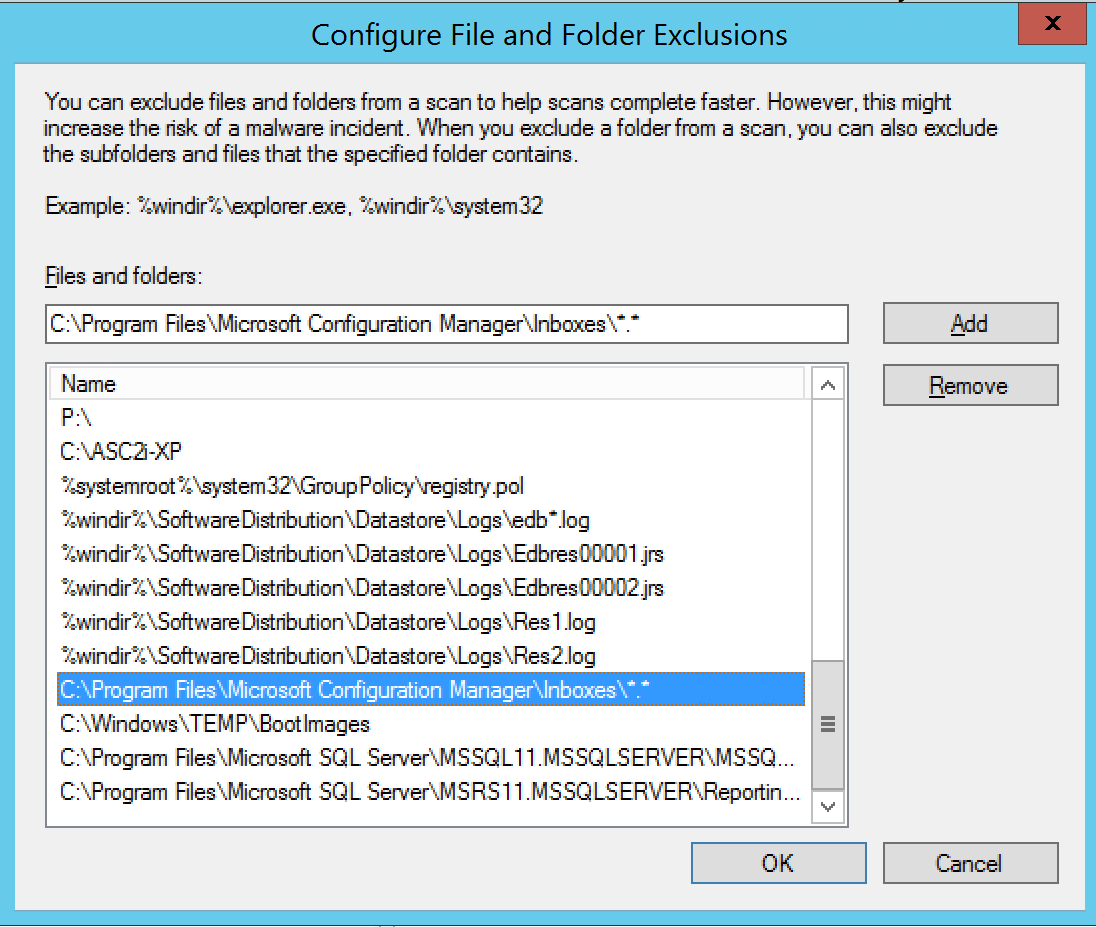 Configure antivirus exceptions for SCCM Enter file exception