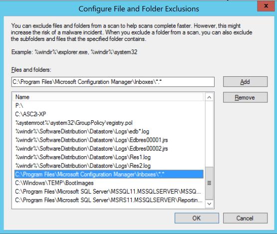 Configure antivirus exceptions for SCCM Enter file exception