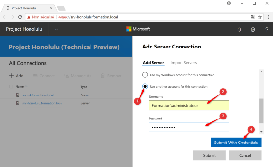 Configure account for add connection