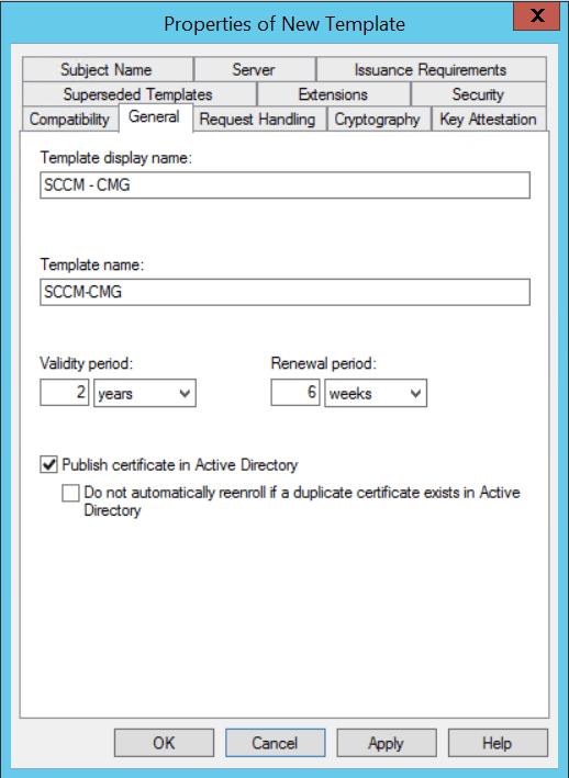 Configure CMG Create Template certificate
