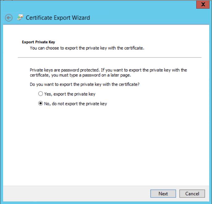 Configure Cloud Management Gateway export certificate
