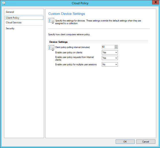 Configure client policy