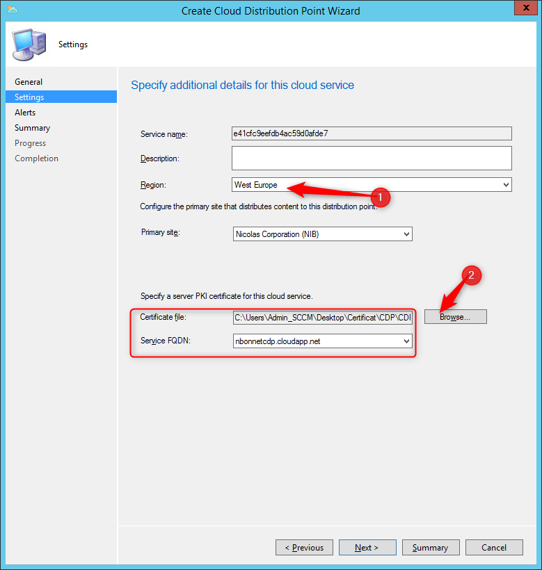 Configure Service FQDN on SCCM
