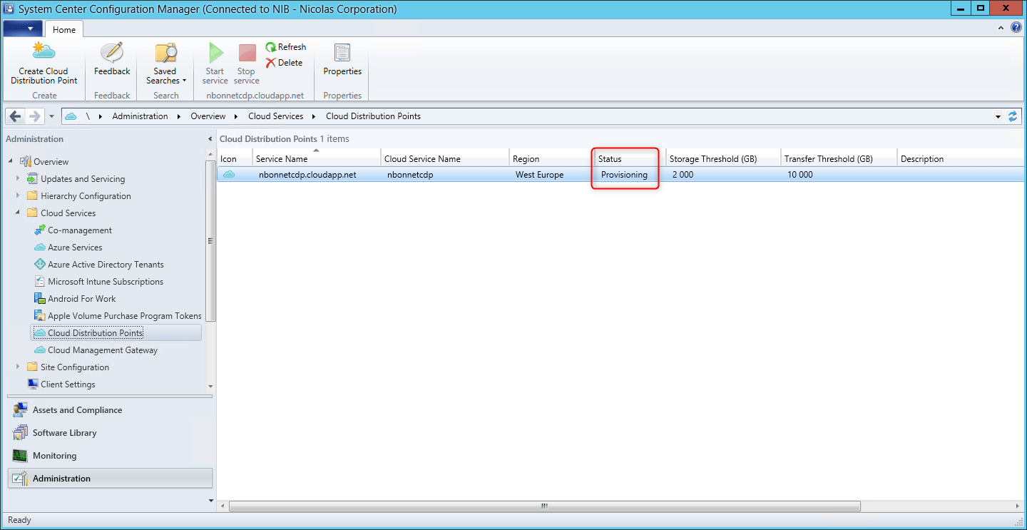 Configure Azure Distribution point on SCCM