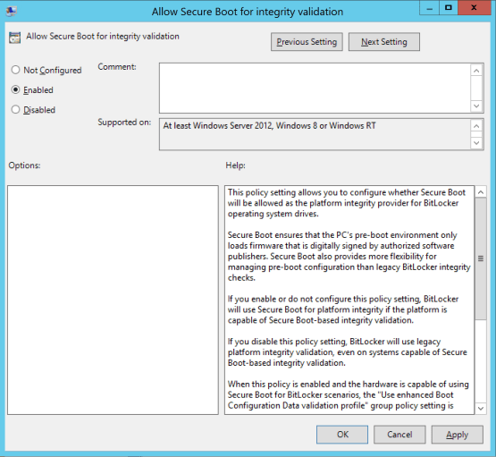 Secure your desktop with Bitlocker  Allow Secure Boot for integrity validation