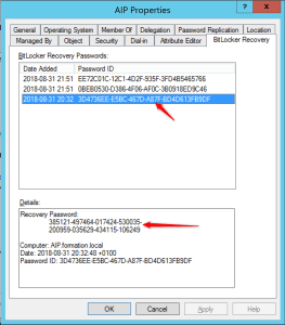 Retrieve recovery key present on Active Directory