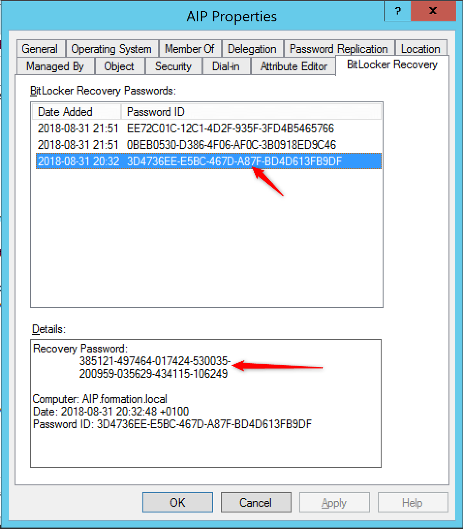 Secure your desktop with Bitlocker Retrieve recovery key present on Active Directory