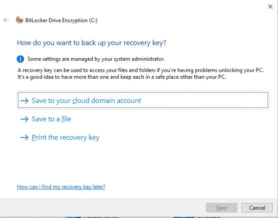 Secure your desktop with Bitlocker Save recovery key on Azure