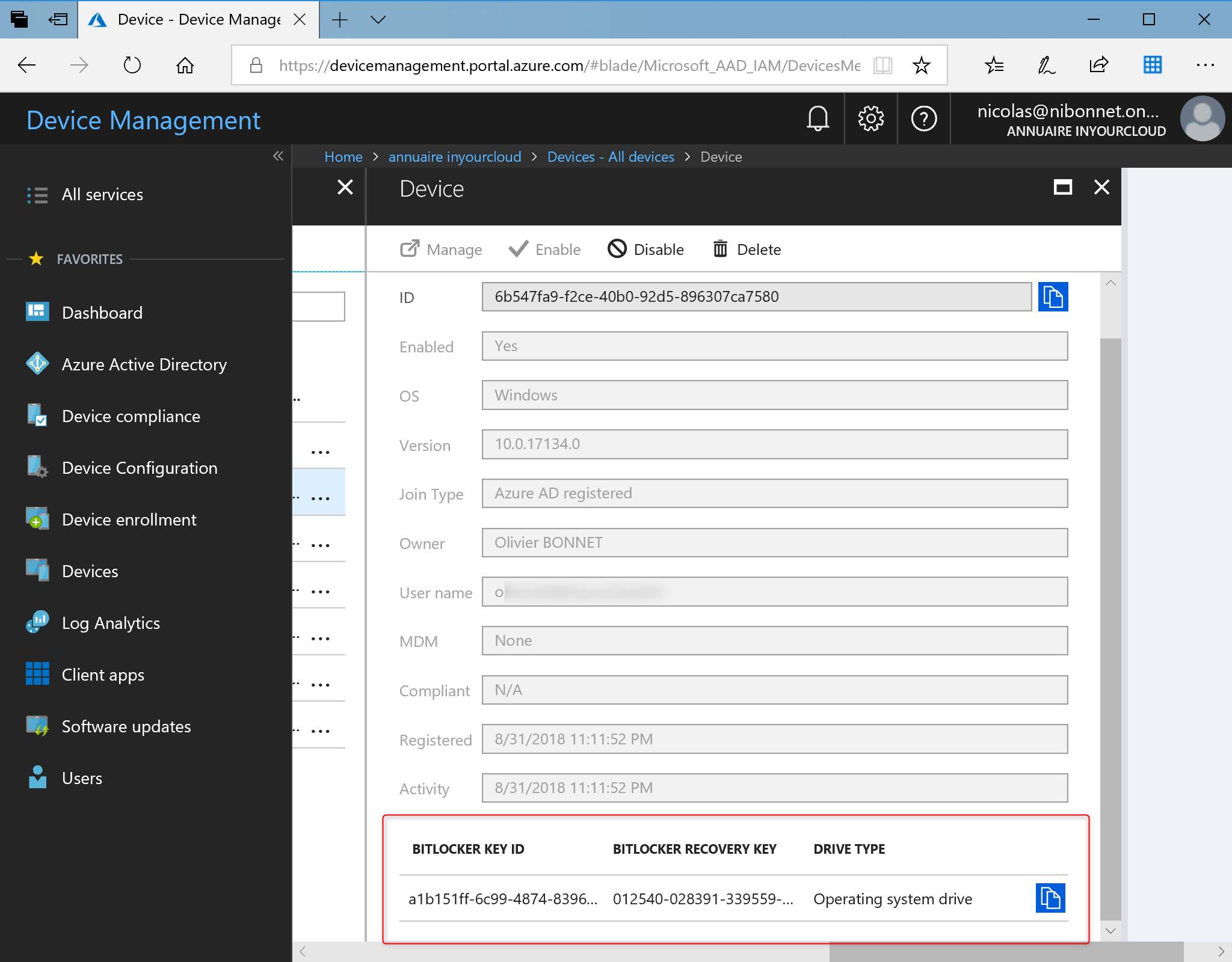Secure your desktop with Bitlocker View recovery key present in Azure AD
