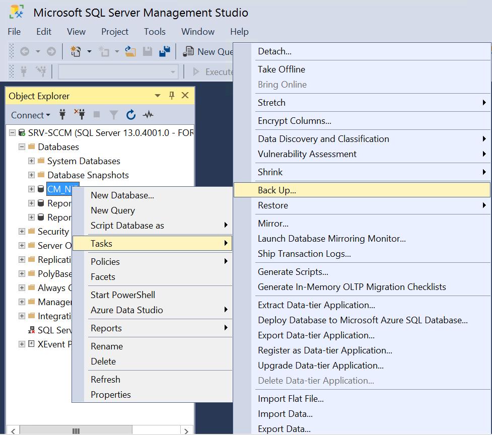 Site Server high availability Backup Database on SQL Management Studio.