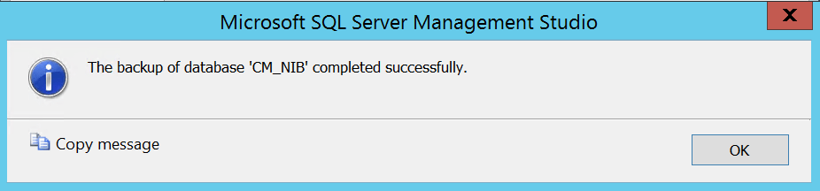 Site Server high availability Backup is finished click ok