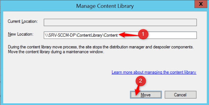 Enter the new location of the content library.
