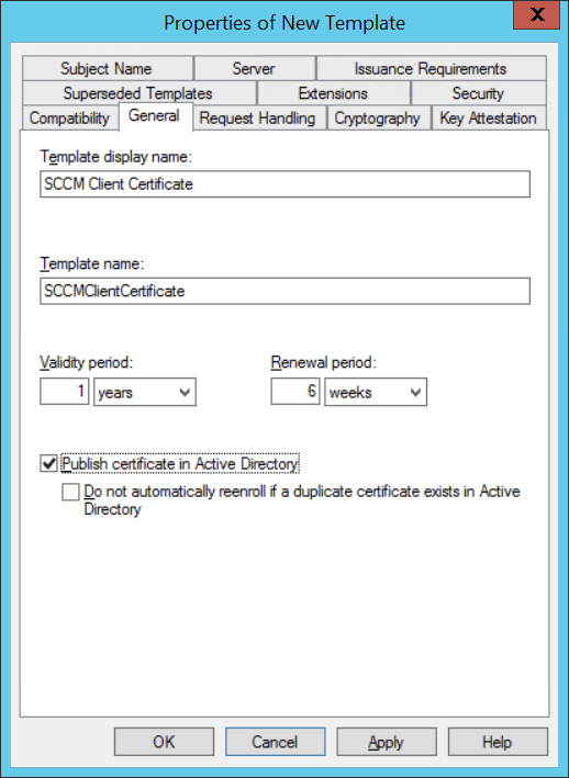 Using MBAM with SCCM - Manage Template certificate - Name of Template