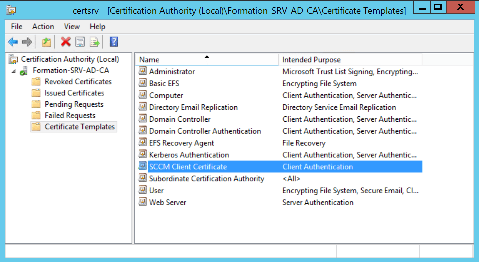 Using MBAM with SCCM - Manage Template certificate - Add template