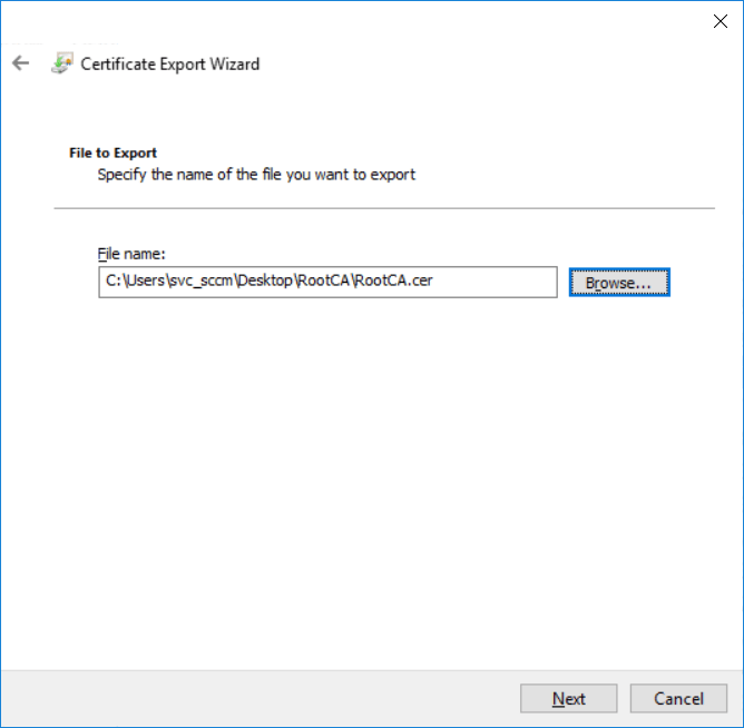 Using MBAM with SCCM - export Root CA Certificate