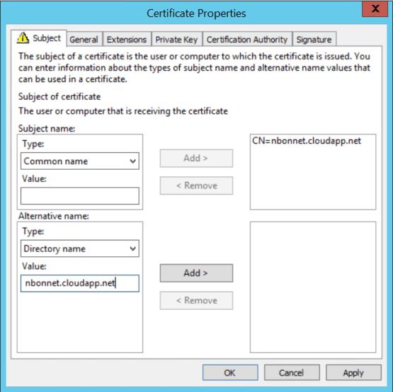 Configure CMG Enter name