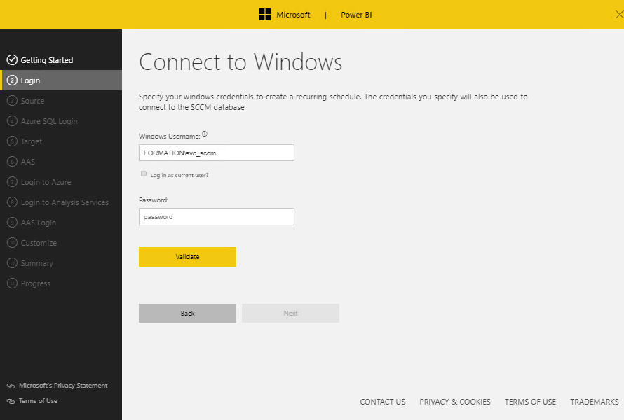 Use account for connect to SQL Server