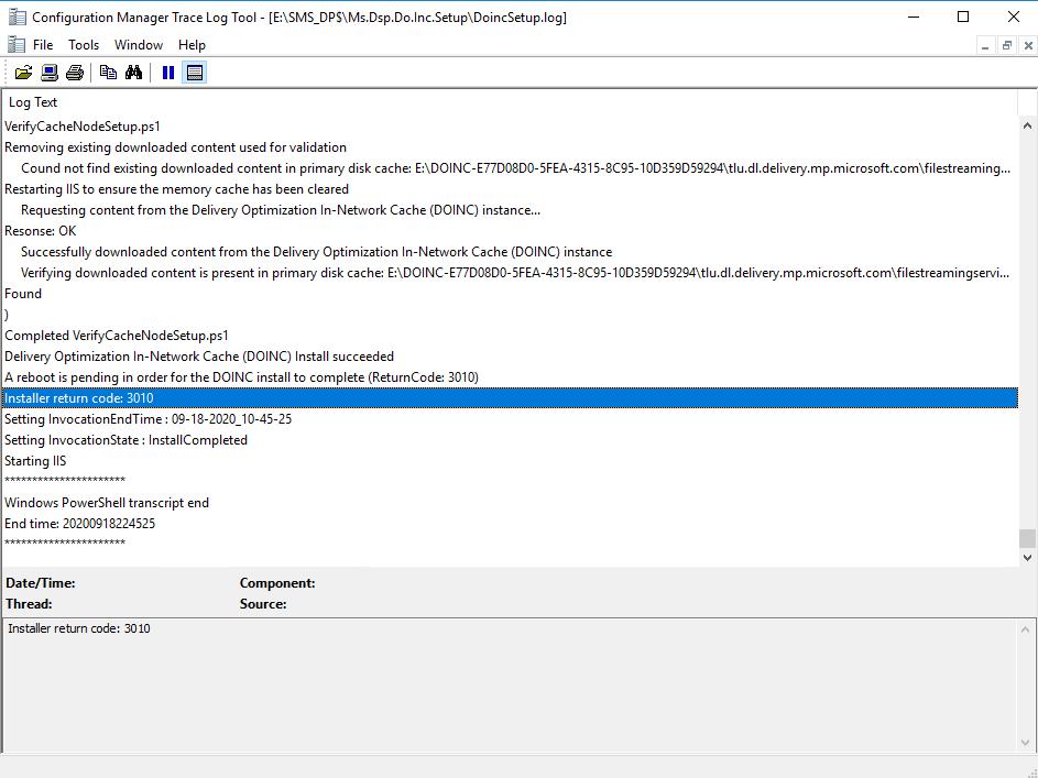 Verify log for setup