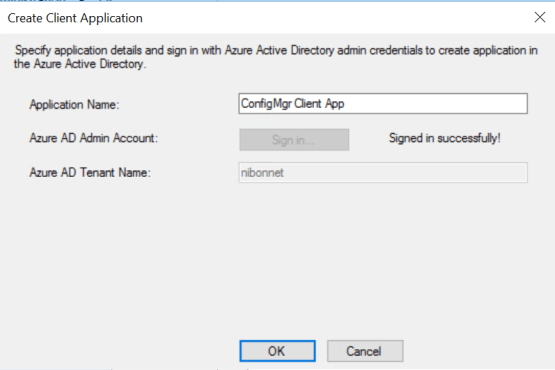 Enter the name of the client application